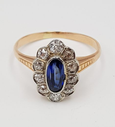 14 kt. Pink gold - Sapphire ring - 585 rose gold - 1 sapphire + 10 diamonds - 0.50 ct Sapphire