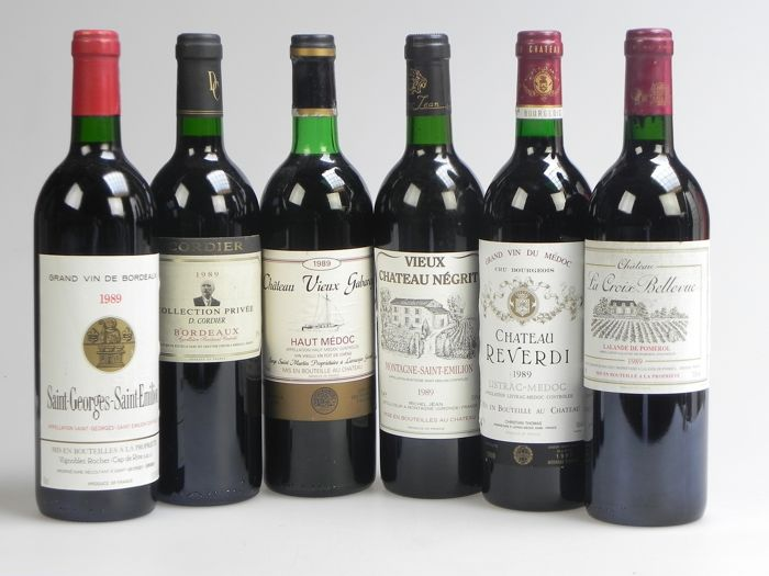 Lot mixte - 1989 Selection Bordeaux Wines - Bordeaux - 6 Bouteilles (0,75 L)