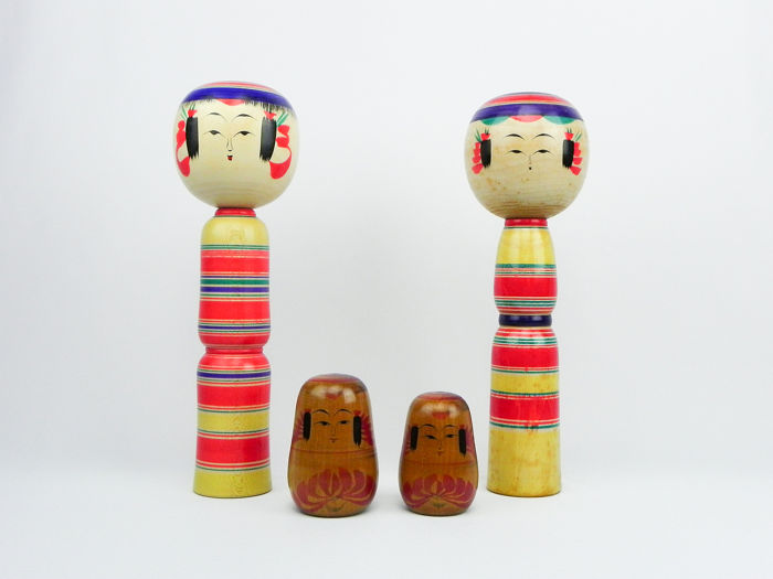 Yajiro Vintage Kokeshi Dolls Design Decorative Design for sale