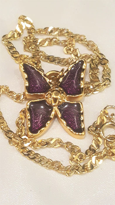 9d7313a53e7 YVES SAINT LAURENT 18kt gold plated dark purple Butterfly Necklace