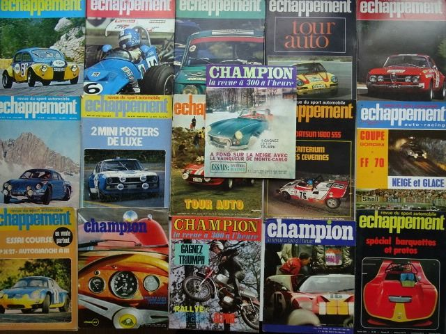Vintage Racing Cars Zeitschriften - CHAMPION & ECHAPPEMENT - Mixed lot - 1966-1973