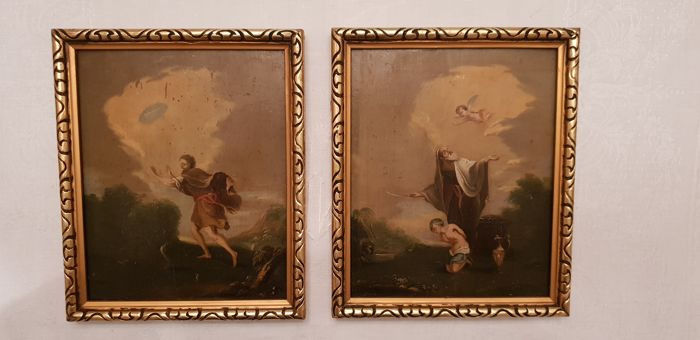 """Biblical scene"" oil on panel (2) - Wood - Late 18th century"