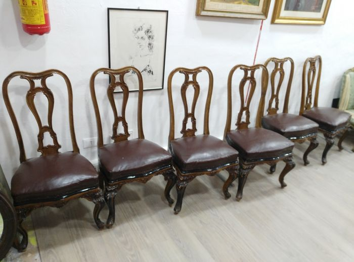 Chair (6) - Rococo Style - Leather, Wood