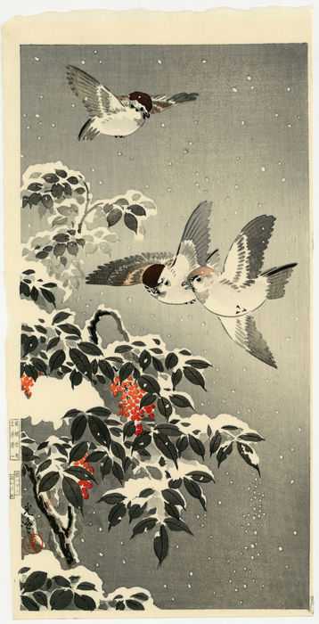 Origineel houtblok print - Tsuchiya Koitsu (1870-1949) - Nandina covered with snow and sparrows - Heisei periode (1989-heden)