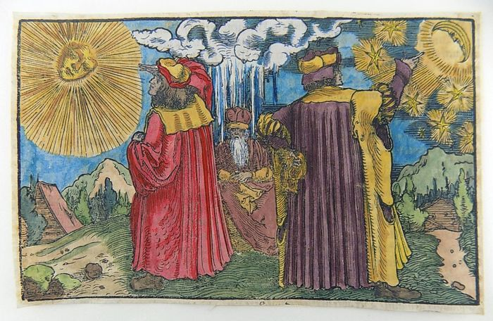 Hans Weiditz (1500-1536) - Master Woodcut - The Astronomers, Astrologists, Sun & Moon - 1532