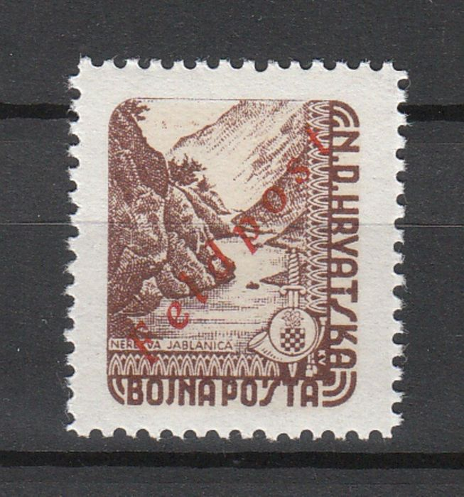 Germania - aree postali locali 1945 - German field post, issue for Croatia 1945 - parcel post stamp with 'Feldpost' overprint, certified - Zumstein Nr. 1