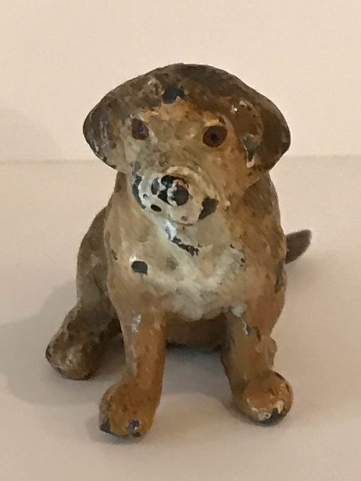 A young puppy, Saint Bernhard - painted lead - circa 1900