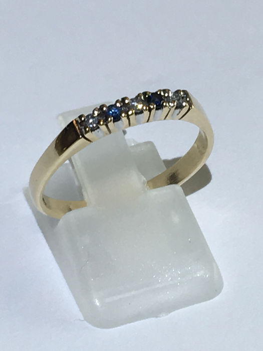 14 kt Gelbgold - Ring - 0.06 ct Diamant - Saphire
