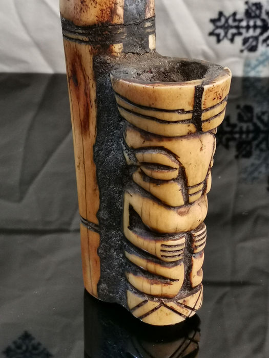 African Collection Pipe Totem Model Bone Carved Wood Catawiki