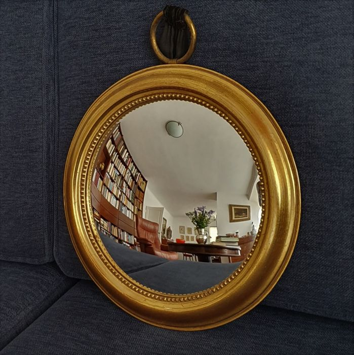 Gold colored butler mirror with pearl rim - Wood and convex glass