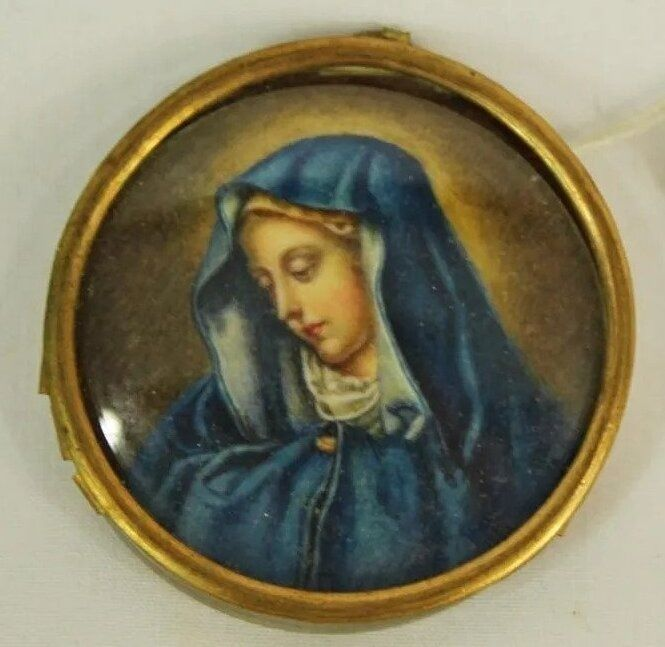 Painted ivory miniature pendant - Madonna of the Dito, Carlo Dolci - Remy de Juriaque - Late 19th century