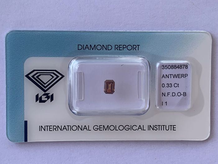 Diamant - 0.33 ct - Émeraude - fancy dark orangy brown - I1
