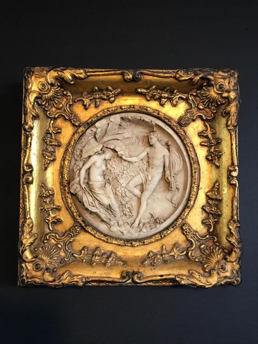 Edward William Wyon - Plaque - Alabaster, Marble, Wood