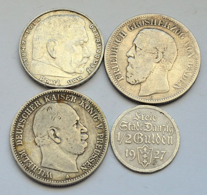 Germany - 1/2 Gulden, 2 Mark 1876/1938 (4 coins) - Silver