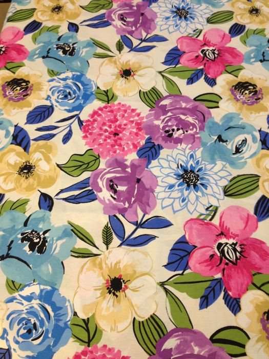 m 2.8 multicolored floral fabric - cotton blend - Second half 20th century