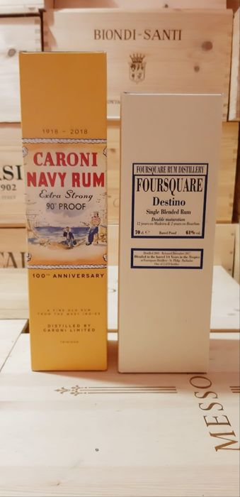 Caroni, Foursquare - Navy Extra Strong, Destino Single Blended - 70cl - 2 bottles