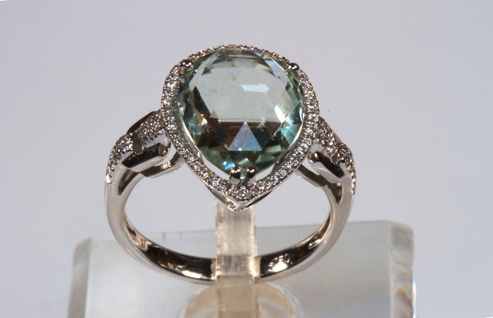 18 kt. White gold - Ring Aquamarine - Diamonds