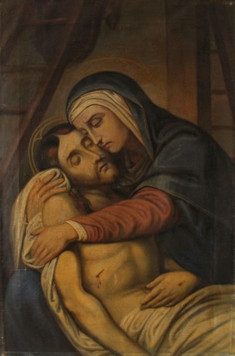 """Anonymous French School - Oil on canvas """"Lamentation over the dead Christ"""" - XVIII-XIXth Century"""