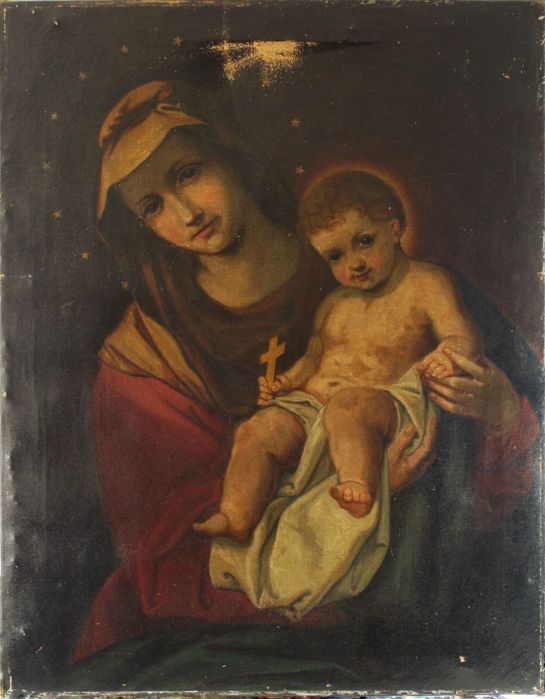 Antique oil on canvas of the French School - Madonna with Child - XVIII-XIXth Century