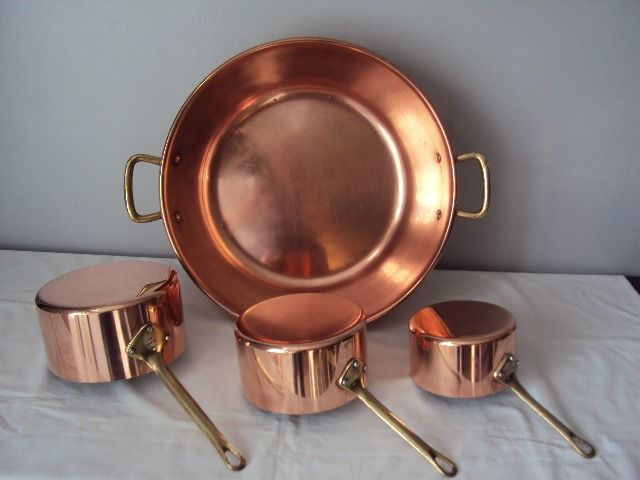 TOURNUS 3 saucepans a jammaker - tinned copper