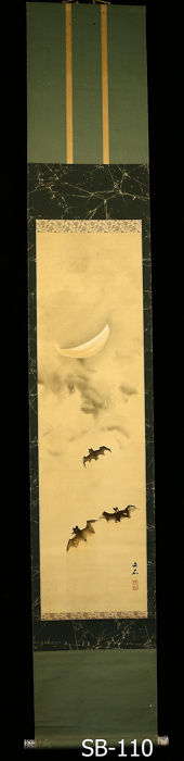 Hanging scroll - Paper, Silk, Wood - Bats and moon - With signature and seal 'Bunseki' 文石 - Japan - Taishō period (1912-1926)