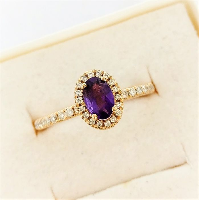 18 kt Roségold - Ring - 0.44 ct Amethyst - Diamanten