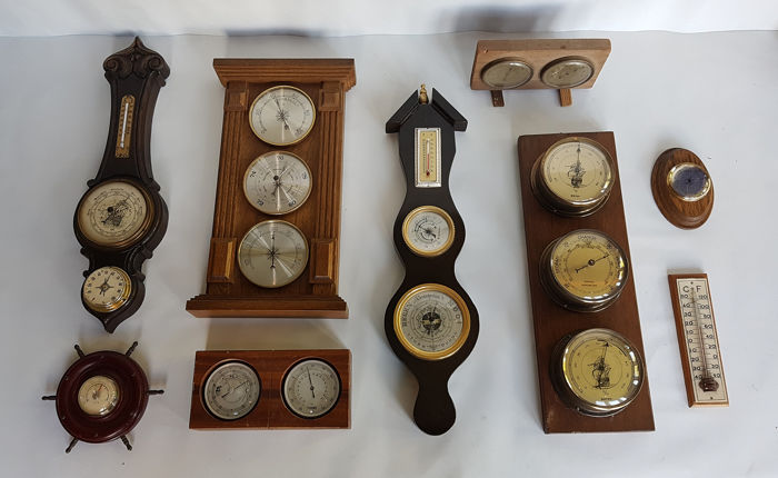Barometers and Weather station (9) - Wood, metal, Glass, plastic,