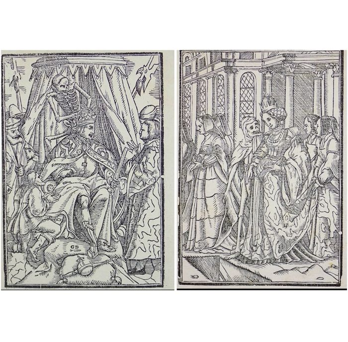 2 woodcuts by Georg Scharffenberg (1530-1607); Memento Mori - Dance of Death: Emperor & Empress - 1588 [1796]