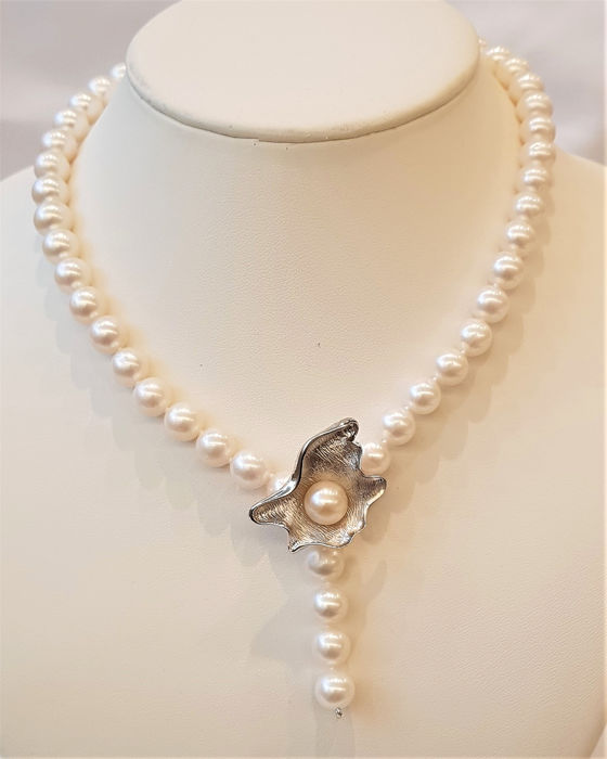 NO RESERVE PRICE - 925 Argint - 9x10mm Lustrous Pearls Water Water - Colier