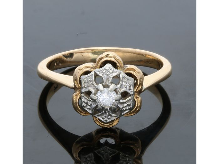 18 kt Gelbgold - Ring - 0.03 ct Diamant