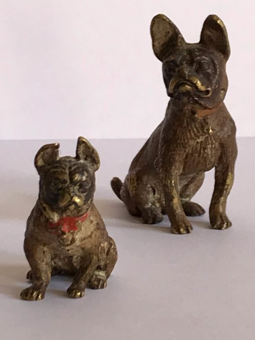Two Viennese bronze French Bulldogs, pup and parent - Bronze (cold painted) - 1900-1920