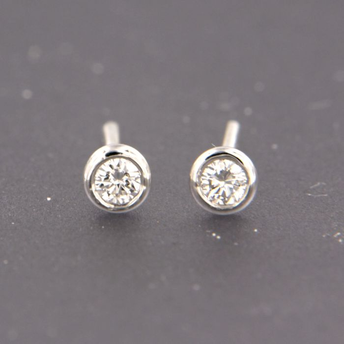 18 kt. White gold - Earrings - 0.10 ct Diamond
