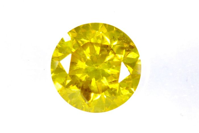 Diamant - 0.68 ct - Briljant - ( Color Treated ) - VIVID Yellow - I1 - * NO RESERVE PRICE *