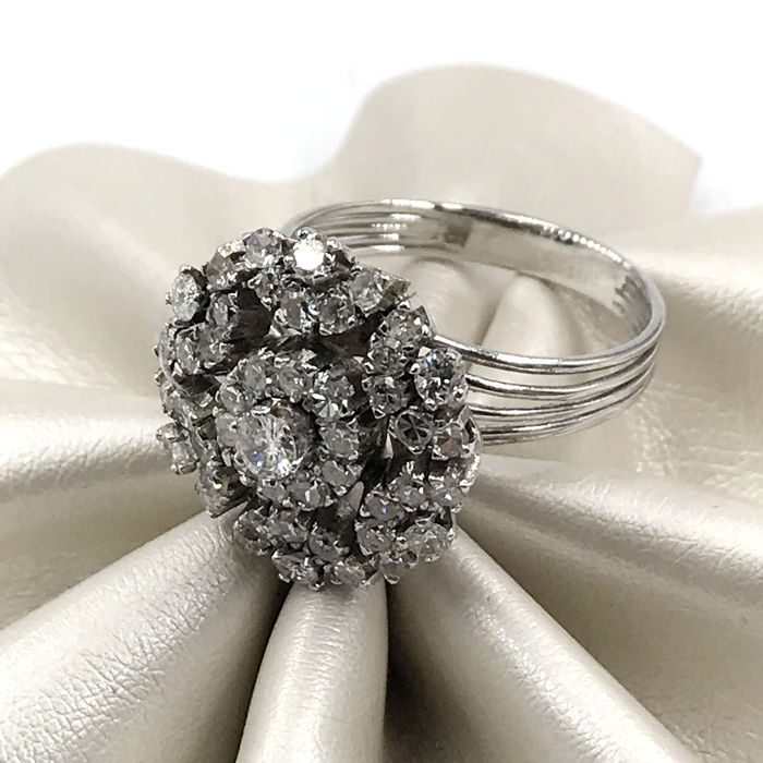18 quilates Oro blanco - Anillo - 1.40 ct Diamante - Diamantes