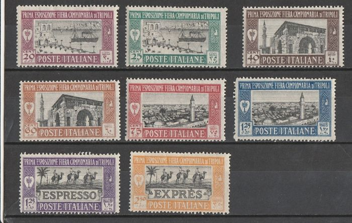 Italiaans Libië 1927/1929 - 1st-2nd-3rd trade fair of Tripoli, mail + express stamps - Sassone serie n.14-15-17