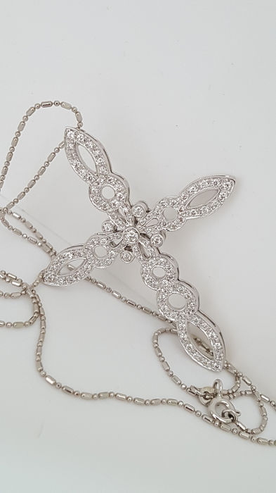 no reserve price  - 18 kt. White gold - Necklace with pendant - 2.00 ct Diamond - Diamonds