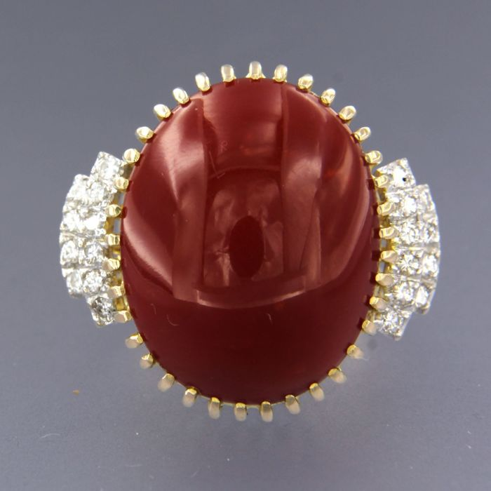 14 carats Or blanc, Or jaune - Bague - 0.60 ct Diamant - Corail