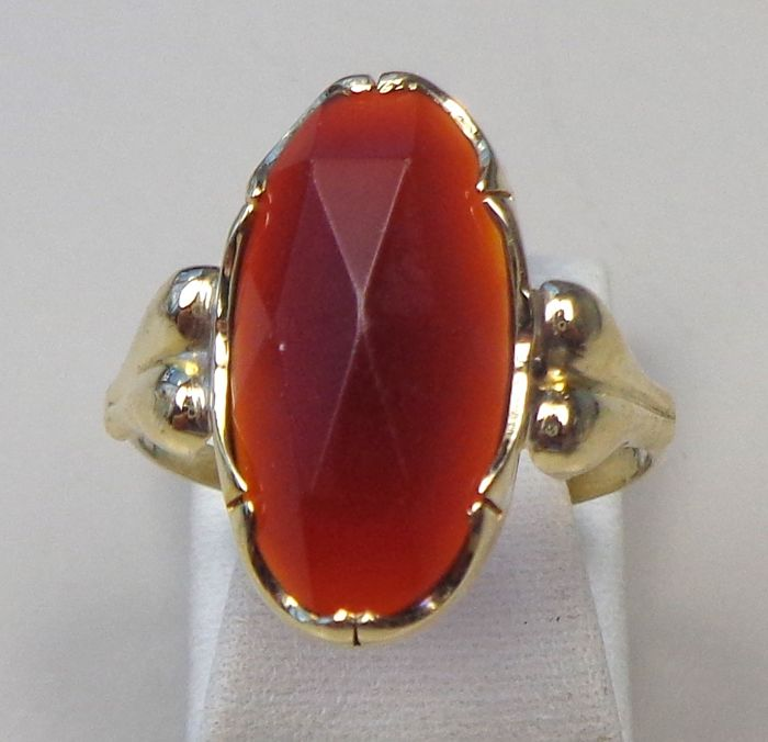 14 carats Or jaune - Bague Cornaline