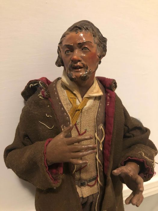 Figure of the Neapolitan crib - cowherd - Terracotta, Wood - Second half 19th century