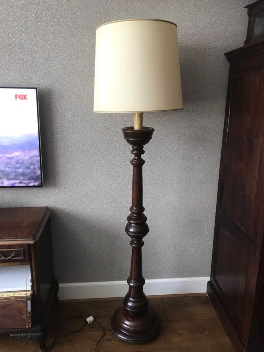 Antique wooden church candlestick, later adjusted to a standing lamp - Wood Curio Curio for sale