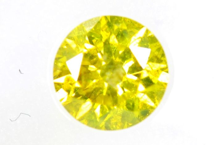 Diamant - 0.50 ct - Briljant - ( Color Treated ) - VIVID Yellow - SI2 - * NO RESERVE PRICE *