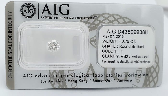 Diamond - 0.75 ct - Brilliant - F - VS2