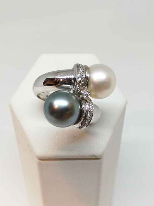 18 kt. Tahitian pearl, White gold - Ring Mixed - Diamonds
