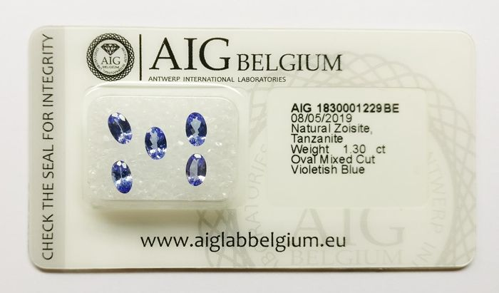 5 pcs Violetish Blue (transparant) Tanzaniet - 1.30 ct