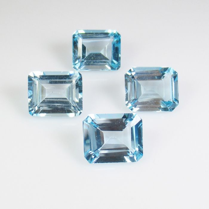 4 pcs Blue Topaz - 27.70 ct