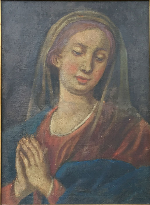 """""""Madonna praying"""". Painting with frame (1) - oil on canvas - Late 18th century"""