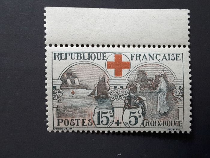 Frankrijk 1918 - For the benefit of the Red Cross, 15c + 5c black and red - Yvert 156 bord de feuille