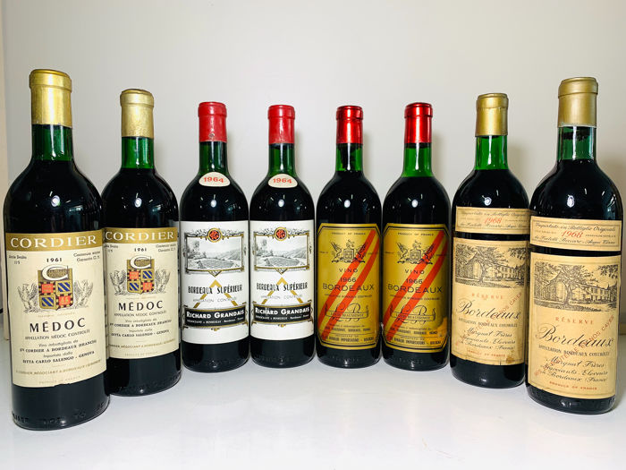 1961 x 2 Cordier Medoc, 1964 x 2 Grandais Bordeaux S. 1966 x2 Louis Beaussinot Bordeaux, 1968 x2 Margnat  - Bordeaux Riserva - 8 Bottles (0.75L)