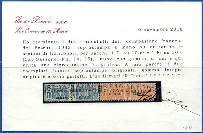 Fezzan 1943 - Overprinted postal parcels, 2 values - Sassone NN. 14/15