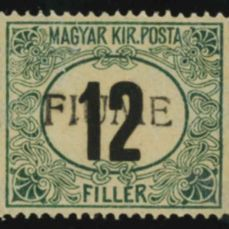 Fiume 1918 - postage due of 12 f. green and black, handmade overprint 3rd type, watermark A - Sassone n. A2/III